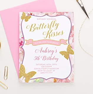 Personalized Butterfly Birthday Invitations for Girls, Your choice of Quantity, Age, Info and Envelope Color