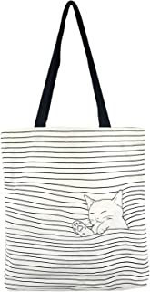 POPUCT Women's Cute Cat Canvas Tote Shopping Bag(White-1)