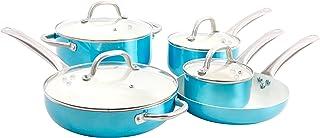 Oster Montecielo 9pc Aluminum Cookware Set, Metallic Turquoise, 9 Piece