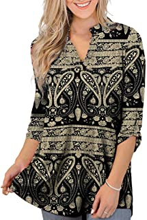 Othyroce Womens Floral Printed Tunic Tops 3/4 Roll Sleeve V Neck Blouse Shirt Tunics for Women
