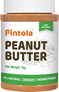 Pintola All Natural Peanut Butter (Crunchy) (1kg) | Unsweetened | 30g Protein | Non GMO | Gluten Free | Vegan | Cholestero...
