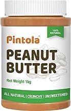 Pintola All Natural Peanut Butter (Crunchy) (1kg) | Unsweetened | 30g Protein | Non GMO | Gluten Free | Vegan | Cholestero...