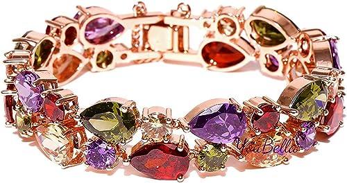 YouBella Jewellery Set Multi-Color AAA Swiss Zircon Rose Gold Crystal Necklace Pendant Ring Bracelet Bangle and Earri...