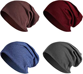 4 Pack Women Men Stylish Thin Hip-hop Soft Stretch Knit Slouchy Beanie Hat Skull Cap