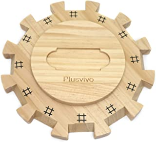 Dominoes Mexican Train Hub Up to 12 Players, Plusvivo Wooden Mexican Train Hub Centerpiece with Felted Bottom Made of Supe...