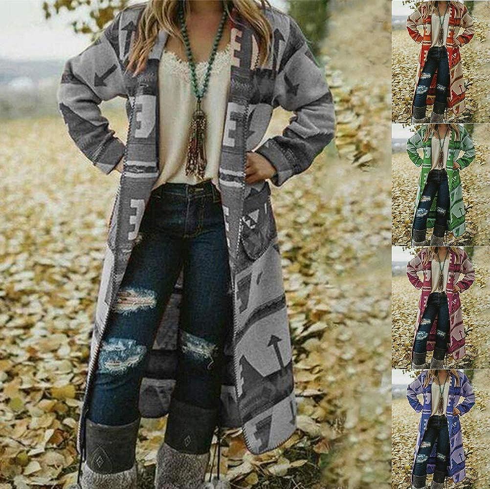 Tomwell Damen Herbst Strickjacke Offen Lang Cardigan Strickcardigan Strickmantel mit Tasche und Geometrisches Muster Grau
