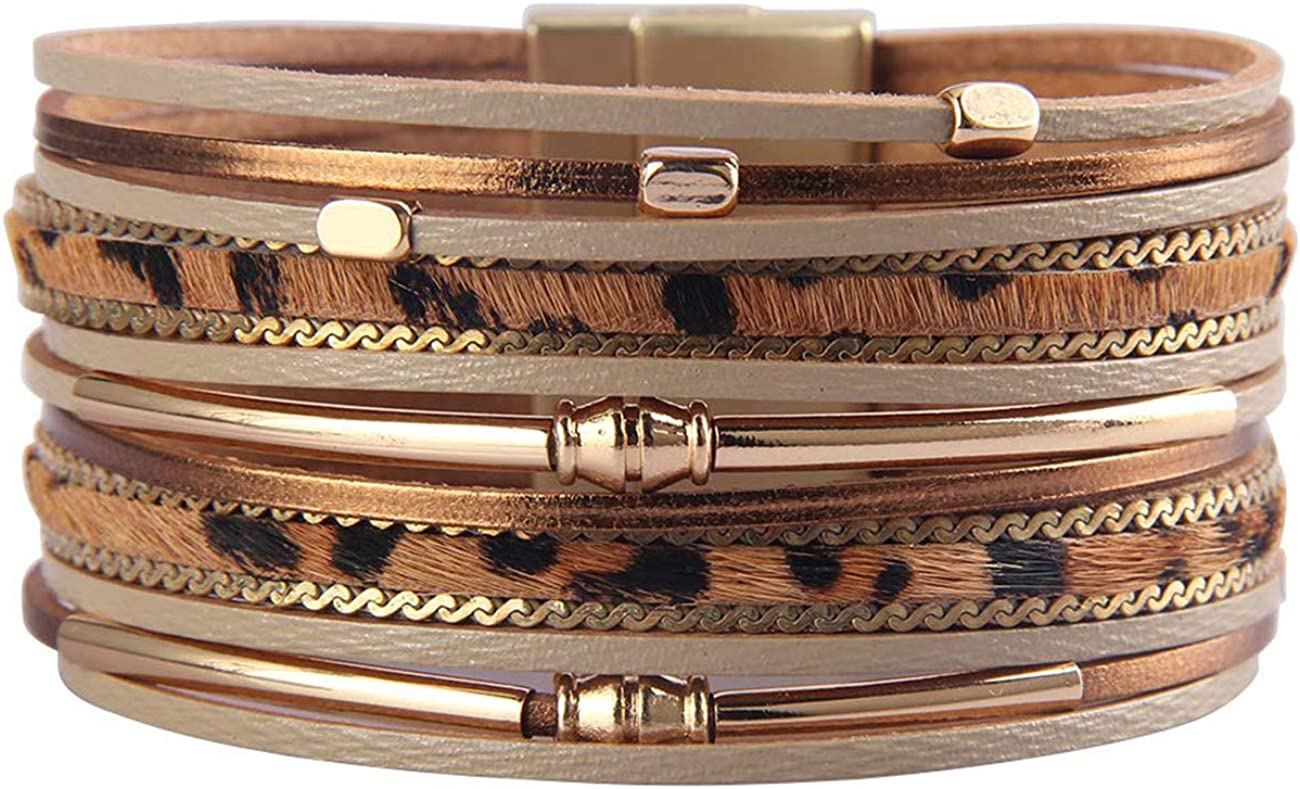 HUA JU Leopard Wrap Bracelet Leather Cuff Bracelet Layered Bracelets Stacking Bracelets for Women Girls