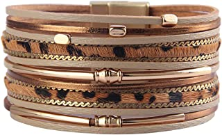 HUA JU Leopard Wrap Bracelet Leather Cuff Bracelet Layered Bracelets Stacking Bracelets for Women Girls