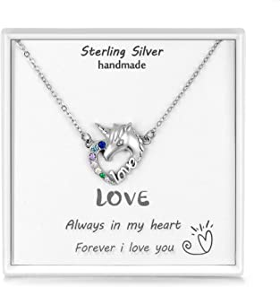 Daesar Sterling Silver Necklaces Pendant for Women Moon Flower Cubic Zirconia Necklace Rose Gold