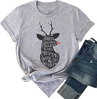 MYHALF Elk Plaid Christmas T Shirt for Women Graphic Print Baseball Tee Shirts Tops