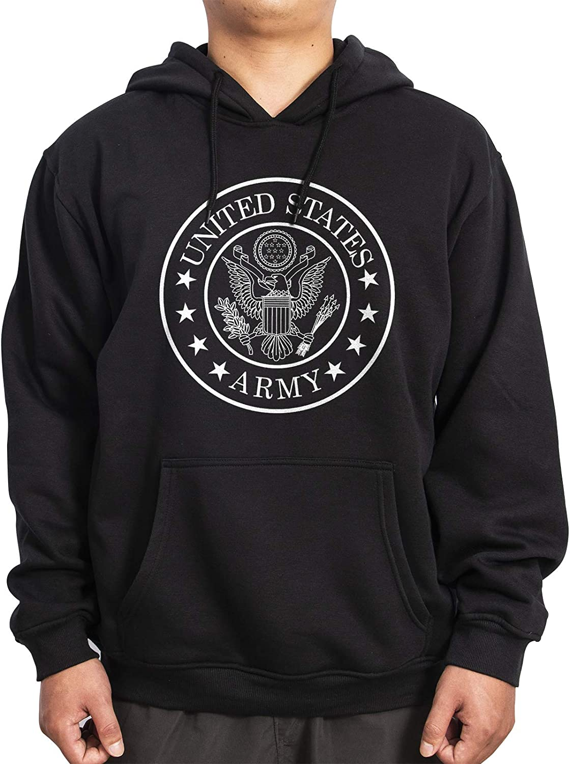 WINTERSUNNY US Army Force Cotton Black Thickened Sweatshirt Pullover Hoodies for Men