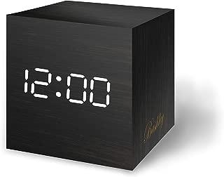 Bashley Wood Alarm Clock Digital LED Light Minimalist Mini Cube with Date and Temperature Sound Control Desk Alarm Clock for Travel, Kids Bedroom, Home, Office-Black