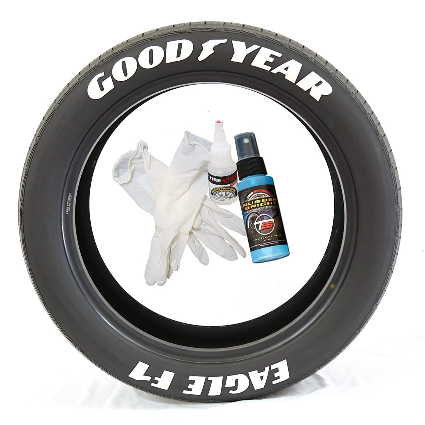 Tire Stickers Goodyear Eagle F1 - DIY Permanent Rubber Tire Lettering Kit with Glue & 2oz Touch-Up Cleaner / 19-21 Inch Wheels / 1.50 Inches/White 8 Pack