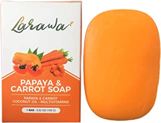 Papaya & Carrot Soap 3.52 oz - Orange Soap Bar Skin Gentle on Face and Body For Men Women Supply from Thailand