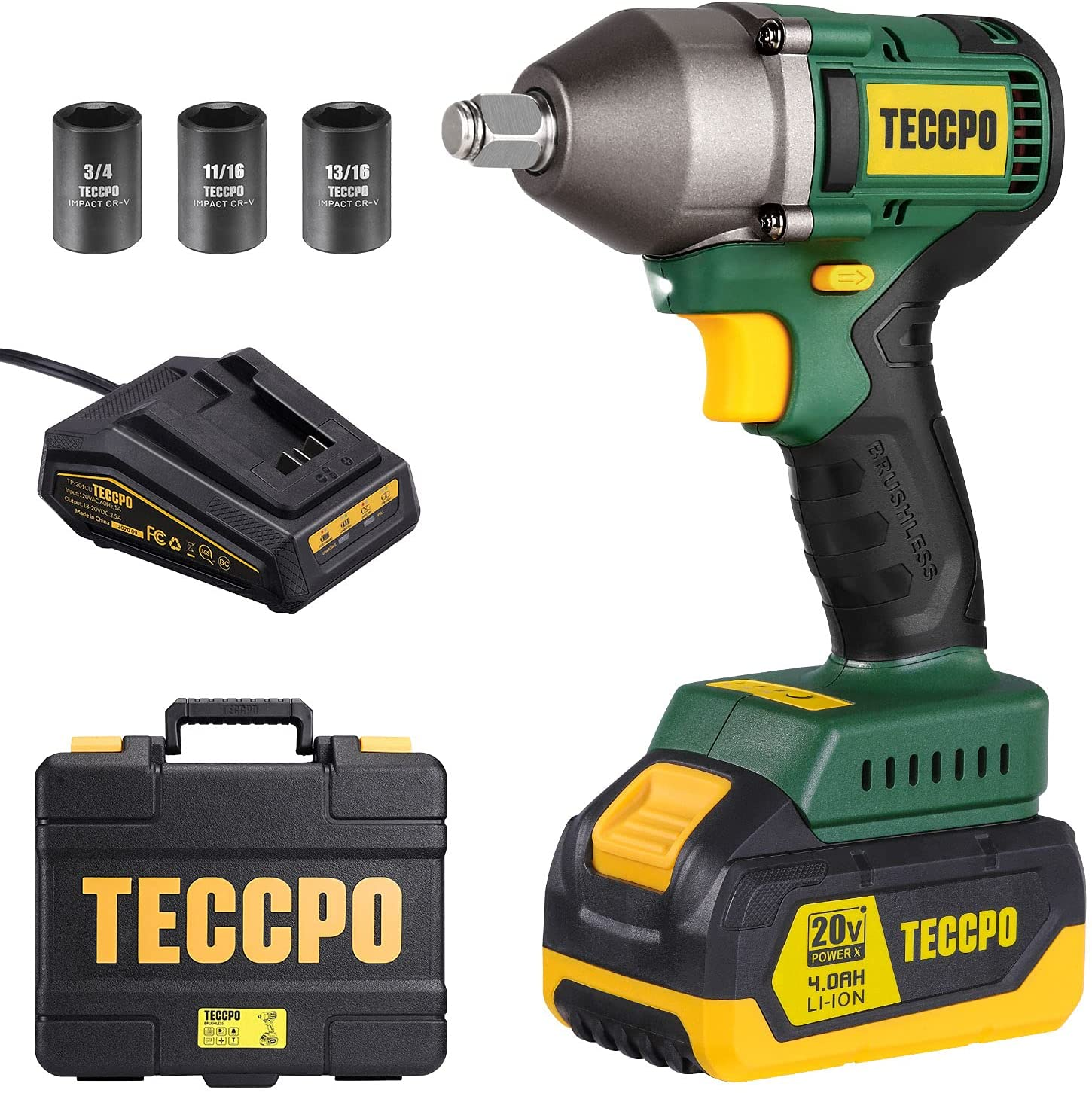 TECCPO Impact Wrench Chicago Mall Brushless 20V Cordless Wholesale MAX