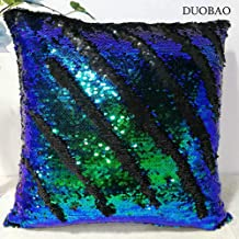 Reverse Sequin Green & Blue Pillow 16x20in(4050cm)Sequence Pillows That Change Color, Sequin Pillow Holographic Mermaid Pillow and case (Pillow Cover only,Pillow Insert not Included)-1013k