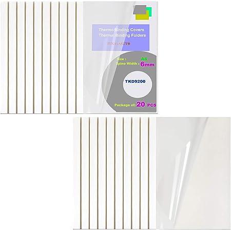TUKA 20x 6mm Couverture de Reliure Thermique, A4 Chemises pour Machines de Relieuse Thermique, Largeur de Dos 6 mm - Capacité 60 Feuilles, Paquet de 20, Couleur Blanche TKD9200-A4-white-20x