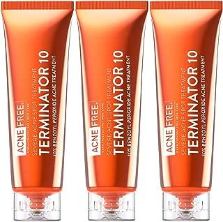 Acne Free Terminator 10 Acne Spot Treatment With Benzoyl Peroxide 10% Maximum Strength Acne Cream Treatment, 1 Fl Oz, Pack of 3
