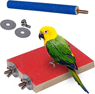 Mumoo Bear Bird Perch Stand Toy, Wood Parrot Perch Stand Platform Paw Grinding Stick