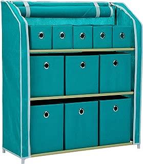 JEROAL Multi-Bin Storage Unit Organizer with Storage Bins Multi-Section Storage Cabinet Sturdy Metal Shelf Frame (Turquoise)