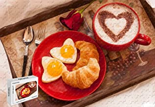 500 Piece Jigsaw Puzzle - Breakfast Croissant Love Heart Eggs Rose Coffee Valentine S Day Basswood Materials 20.6 X 15.1 Inch