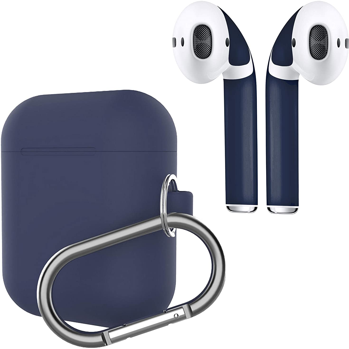 APSkins Protective Silicone Case Cover and AirPod Skins - Slim Keychain Carabiner Clip and Color Matched Wraps – Compatible with Apple AirPods - Protect Your Earphones (Midnight Blue)