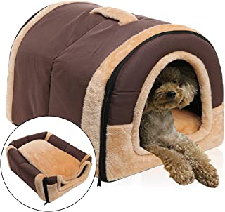 OUZIFISH Pet Bed Dog Igloo House 2-in-1 Dog Beds Cave & Sofa Bed with Plush Mattress Removable Cover - Durable Oxford Fabric Cozy Foam Interlayer, Waterproof Skid-Resistant Bottom Machine Washable