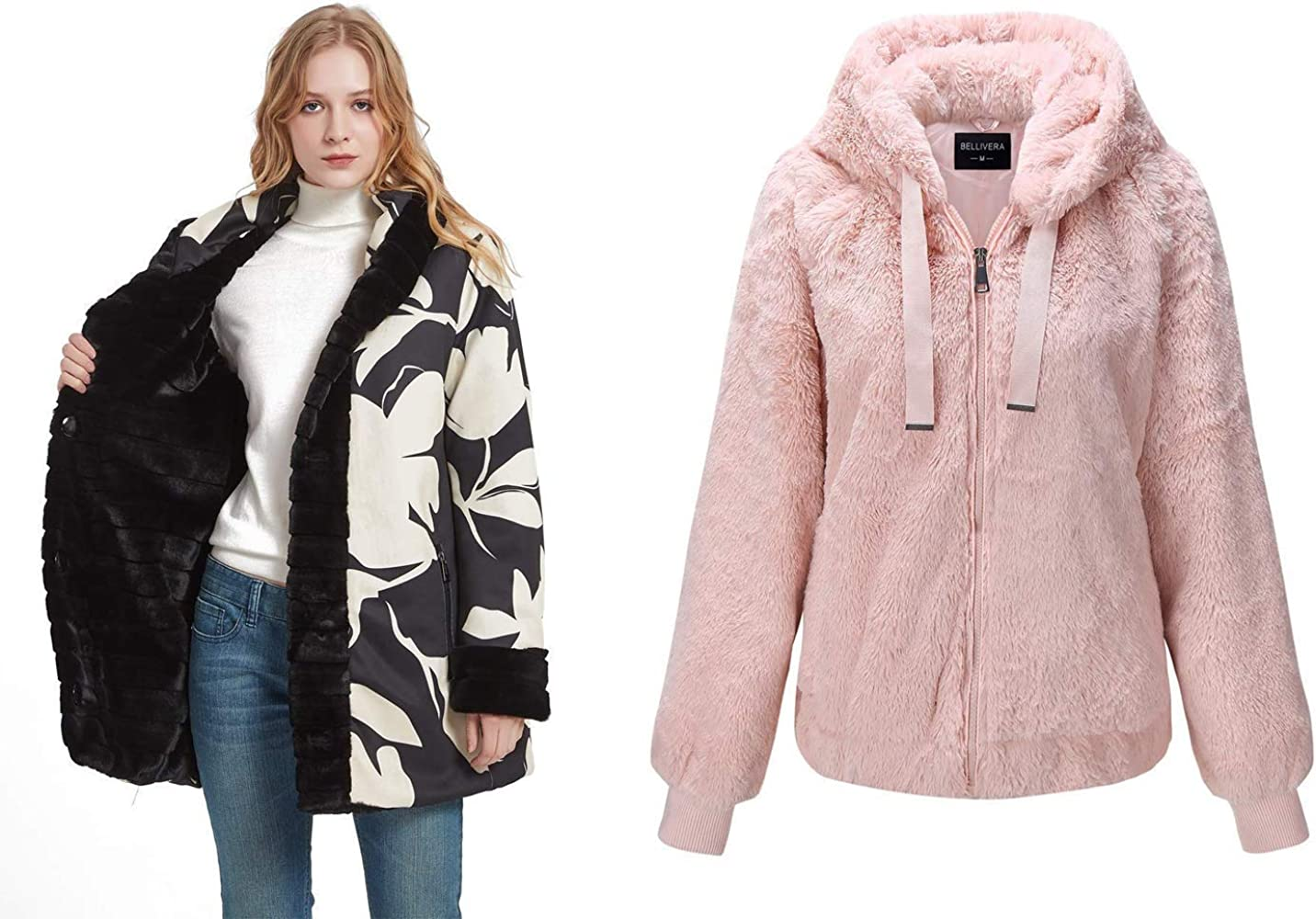 Bellivera Women's Double Sided Faux Fur Jacket Hooded with Fur Collar