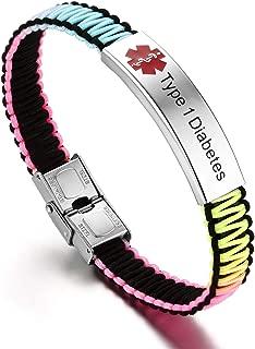 Medical ID Alert Bracelet for Women Handmade Nylon Rope Braided Bracele, Adjustablet