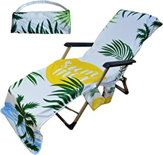 Generleo Beach Towel Home Fashions Beach Shawl Summer Coconut Palm Leaf Beach Lounge Pool Chair Cover Towel with 3 Fitted Pockets, Foldable (85