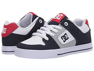 DC Kids Pure (Little Kid/Big Kid) (White/Navy/Red) Boys Shoes