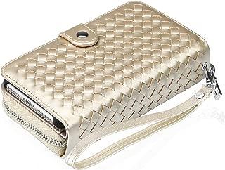 Vofolen Wallet Case for iPhone 8 Plus 7 Plus 6s Plus 6 Plus Detachable Zipper Plait PU Leather Card Holder Slot Protective Slim Fit Shell Magnetic Folio Flip Cover for iPhone 6+ 6s+ 7+ 8+ (Gold)