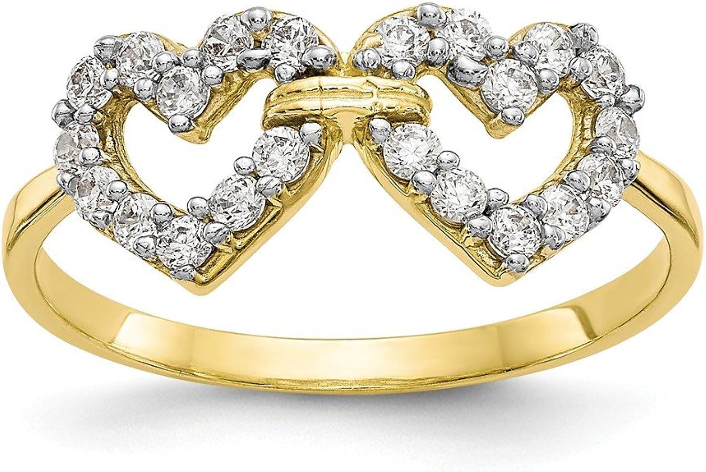 Beautiful Yellow gold 10K Yellowgold 10k Double Heart CZ Ring