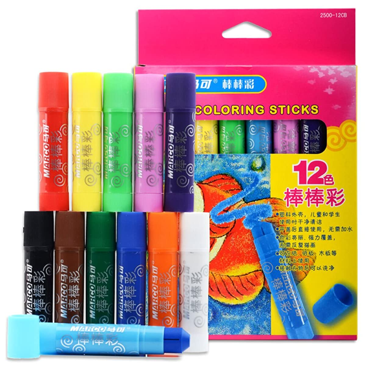 Non-toxic Super Oil painting sticks Set of 12 Colors, 1 Paint brush -Twistable, Bright and Washable