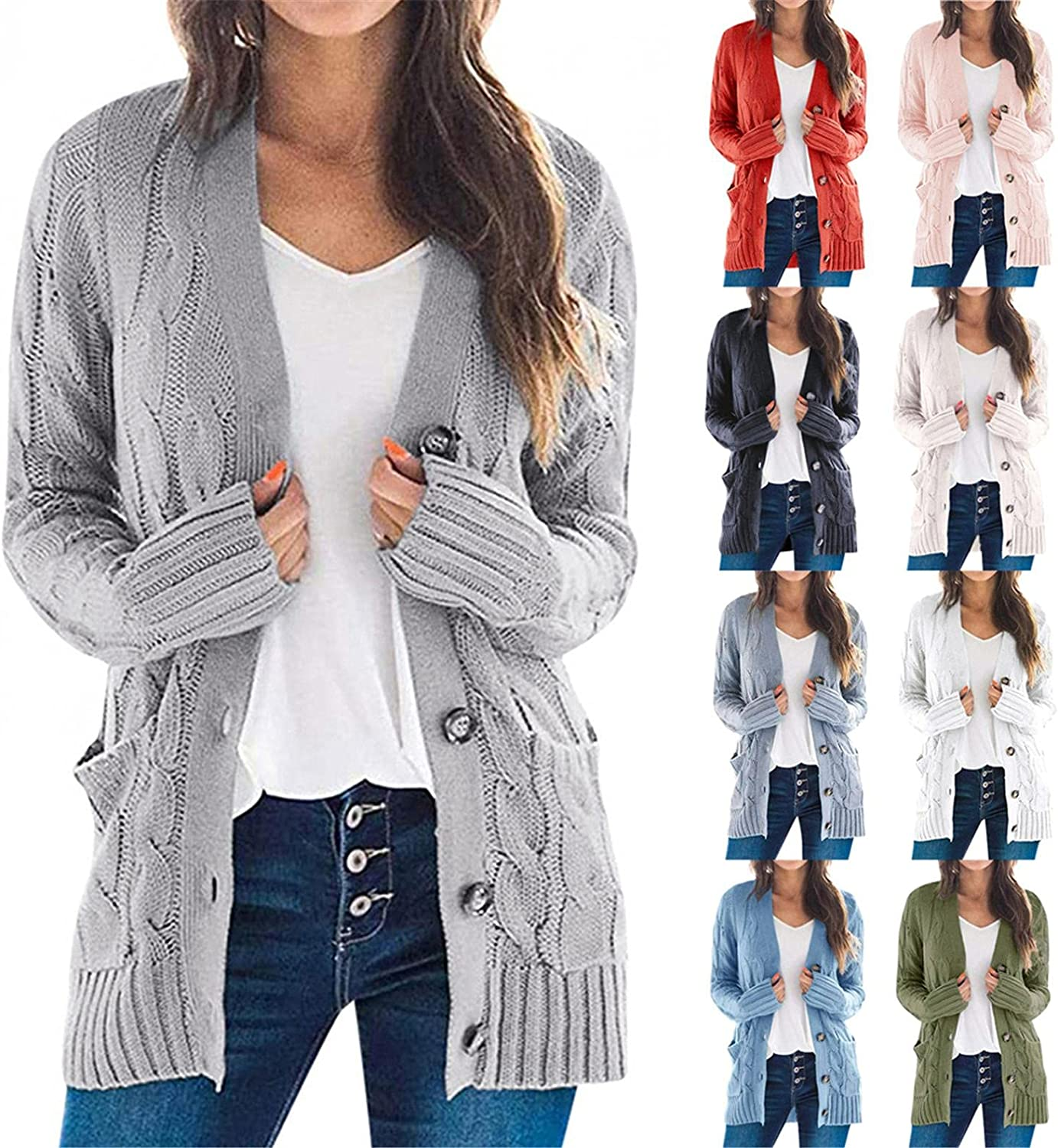 AODONG Cardigan for Women Loose Long Sleeve Cable Knitted Sweater Open Front Cardigan Fashion Button Outerwear