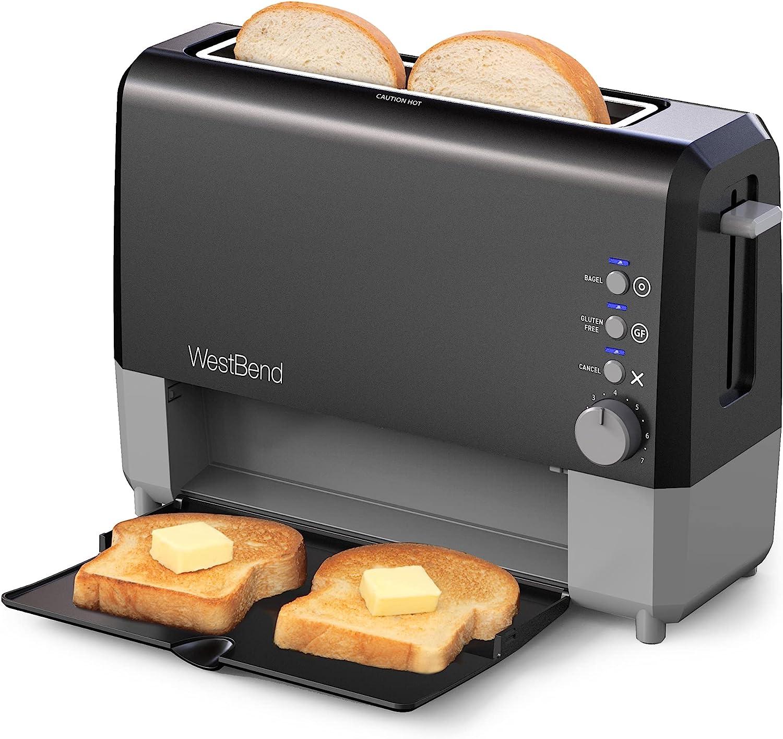 West Discount mail order Bend 77224 2 Slice Toaster Wide Slide QuikServe Throug Slot unisex