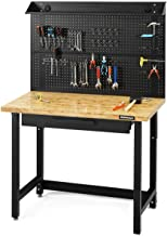 Goplus 48'' Garage Workbench, Bamboo Tabletop Steel Work Bench Work Table, Multipurpose Tools Storage Workshop with Removable Pegboard Organizer Separable Drawer, 500 Lbs Weight Capacity