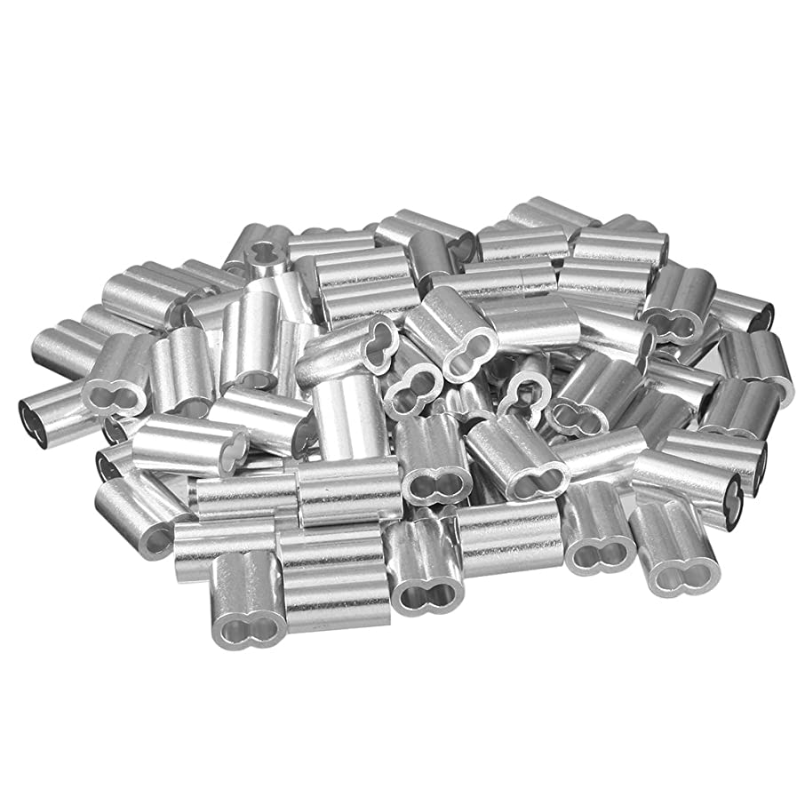 uxcell 0.23 inch 5.8mm Diameter Wire Rope Aluminum Sleeves Clip Fittings Cable Crimps 100pcs