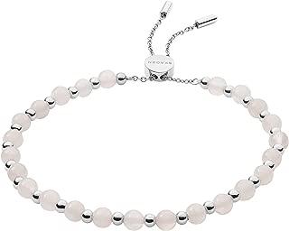 Skagen Women's Anette Rose Quartz Beaded Bracelet, Silver/Pink, Size: 0