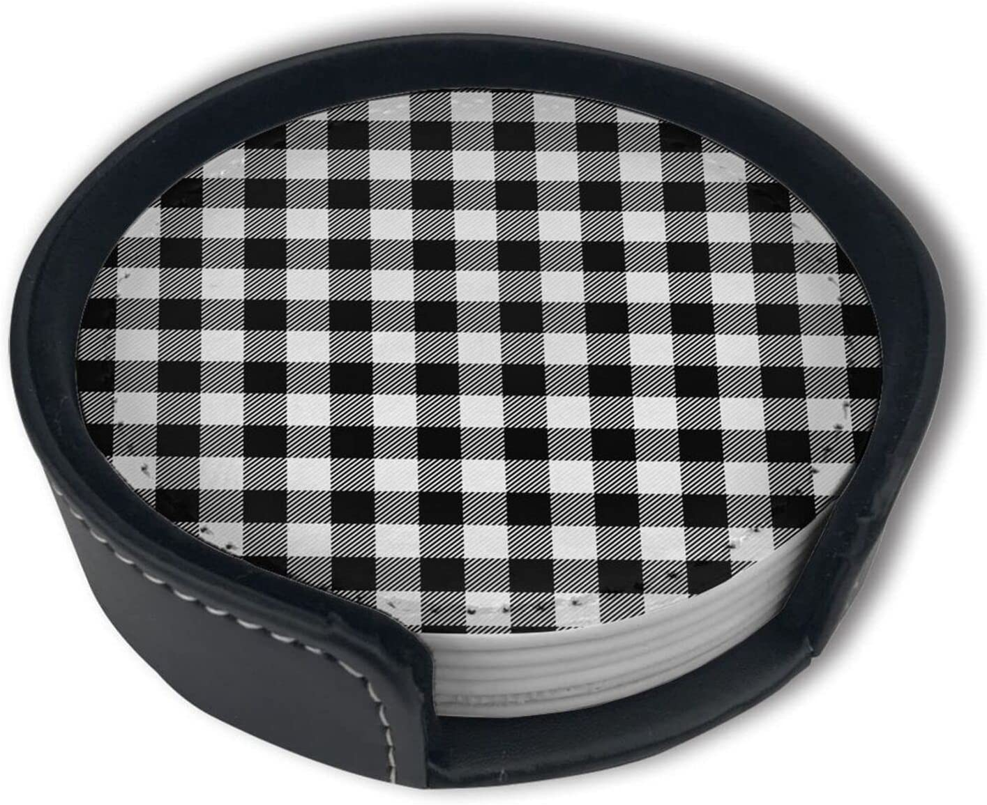 White And Black Buffalo Plaid Wit Tartan Coasters OFFer Free shipping Gingham Drinks