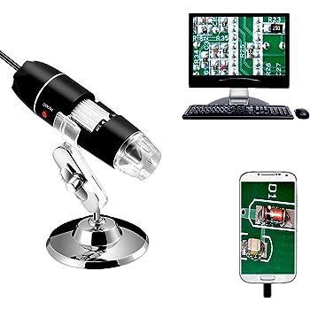 Jiusion 40〜1000x倍率内視鏡、8 LED USB 2.0デジタル顕微鏡、OTGアダプタとメタルスタンド付きミニカメラ、と互換性がありますMac Windows 7 8 10 Android Linux