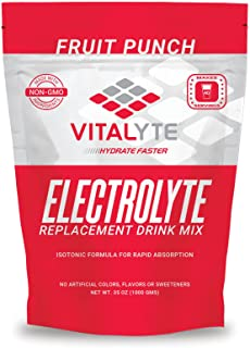 Vitalyte Natural Electrolyte Powder Drink Mix, Gluten Free, 40 2 Cup Servings Per Container (FRUITPUNCH-2PACK)