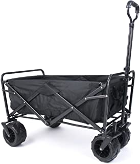 Sponsored Ad – Amazon Brand - Umi Folding Wagon, Garden Trolley Cart with Telescopic Handle, Off-Road Wagon, Extra wide wh...
