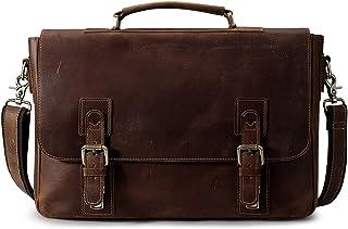 S-ZONE Men's Crazy-Horse Leather Business Briefcase Shoulder Laptop Bag (Dark Brown)