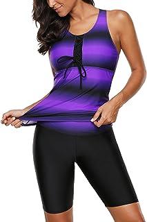 Aleumdr Womens Racerback Color Block Print Tankini Swimsuits with Swim Capris S-XXXL