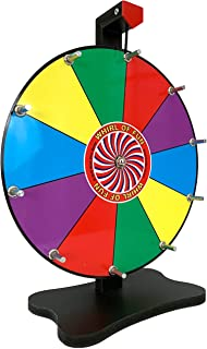Prize Wheel 12 Inch-Tabletop Color Spinning Wheel with Stand, 10 Slots, Customize with Included Dry Erase Marker, Made in USA by Moon Glow Sports