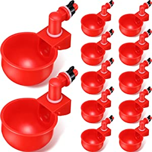 Chicken Watering Cup Automatic Filling Waterer Poultry Drinking Bowl 1/8 Inch Thread Watering Feeder Cup for Chicken Duck Turkey and More (12, Red)