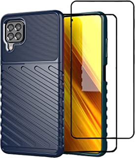 SYBS Case + [2-Pack] Tempered Glass Screen Protector Compatible with Galaxy M62, Soft TPU Carbon Fiber Protective Cover, S...