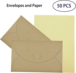Vintage Envelopes Brown With Blank Kraft Paper, Hotipine Durable Recyclable Love Heart Knot DIY Decoration For A6 Greeting Cards Love Letter Friendship Diary 100Gsm 174Mm X 109Mm, 50 PCS
