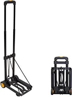 Mount-It! Folding Luggage Cart and Dolly | 77 Lb Capacity | Portable Lightweight Luggage Trolley Cart with Telescoping Han...